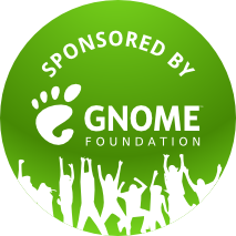 A GNOME Foundation sponsorship badge.