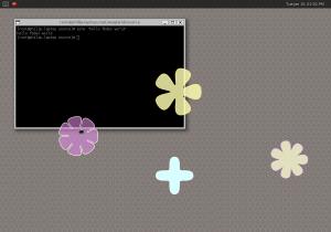 Weston running on a Linux frame buffer, taken on 2013-01-15.